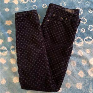 J Crew Velvet Polka Dot Cropped / Ankle Jeans